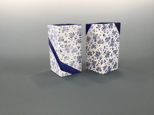 Blue & White Square Vases